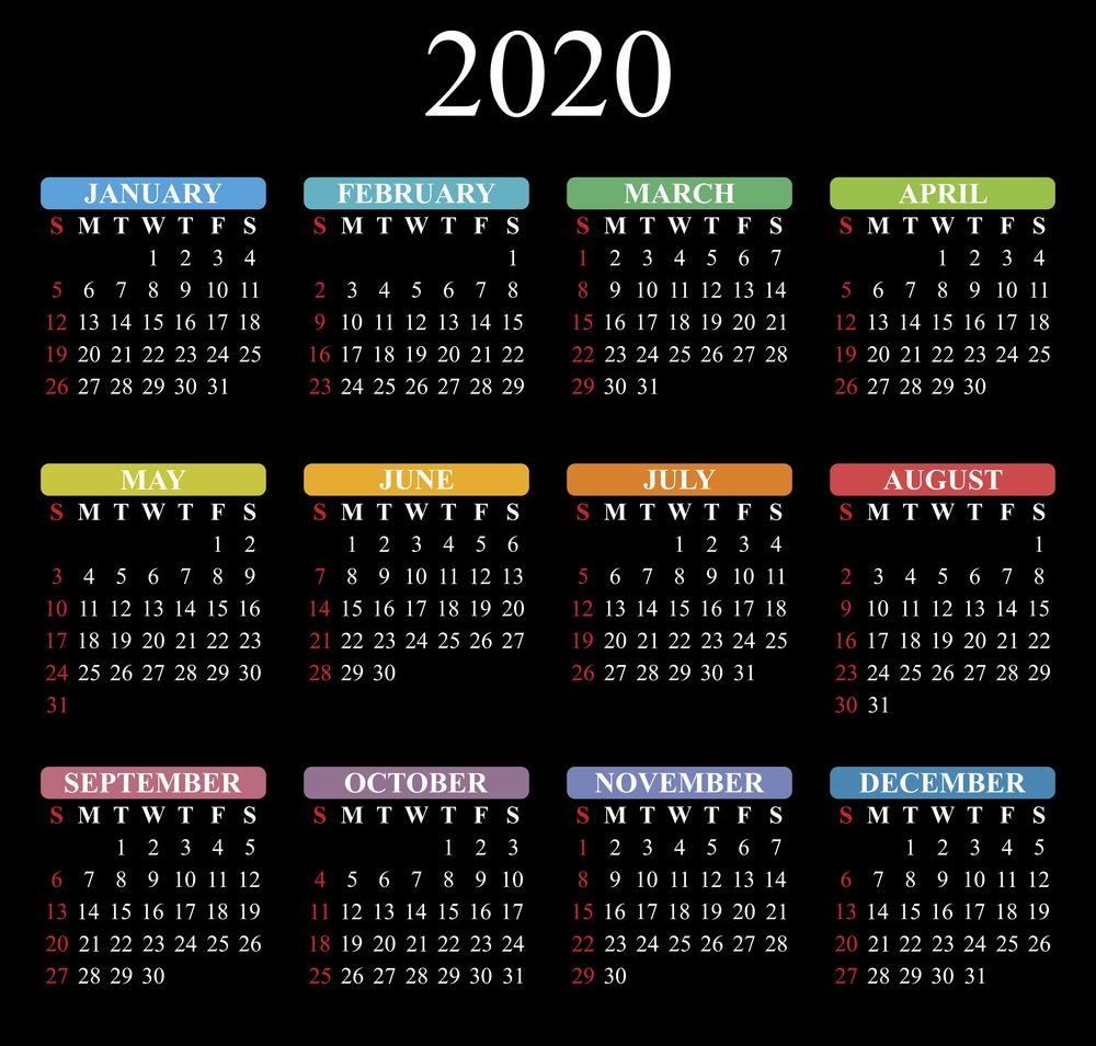 Vector calendar for 2020 year on black background. EPS10.